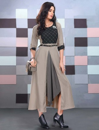 Grey hue cotton fabric festive function kurti