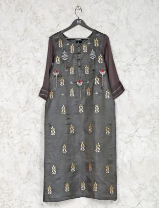 Grey hue cotton festive wear kurti