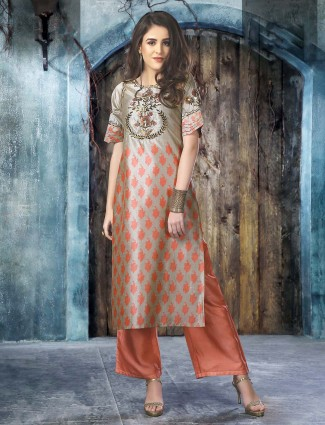 Grey hue cotton silk festive kurti