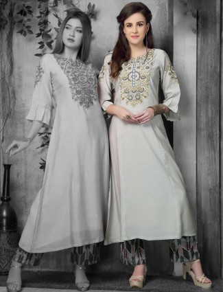 Grey hue cotton silk round neck kurti