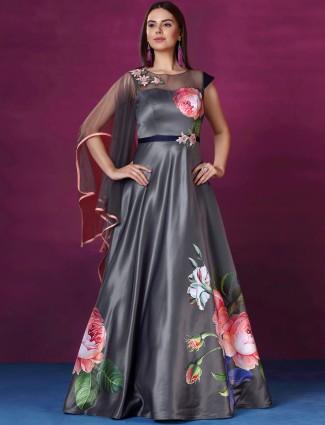 Grey hue designer gown in silk