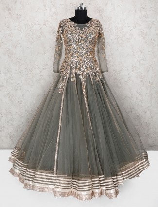 Grey hue designer net fabric gown for wedding
