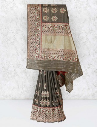 Grey hue festive wear banarasi semi silk saree