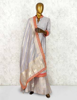Grey hue georgette fabric punjabi palazzo suit for party wear