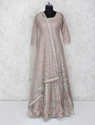 Grey hue gorgeous floor length anarkali salwar suit