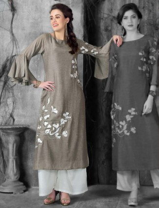 Grey hue kurti in cotton silk