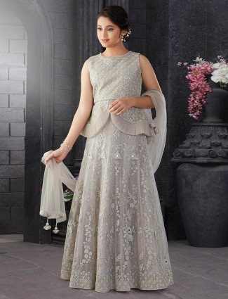 Grey hue net party function lehenga choli