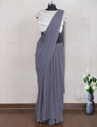Grey hue net party wear ready to wear saree