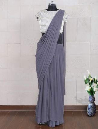 Grey hue net party saree