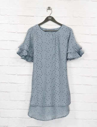 Grey hue printed top for casual wear
