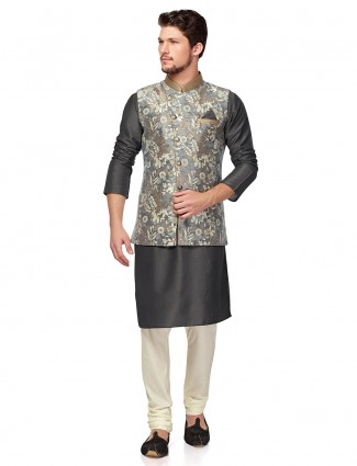 Grey hue terry rayon fabric mens waistcoat set