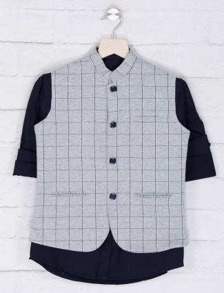 Grey hued cotton fabric checks waistcoat