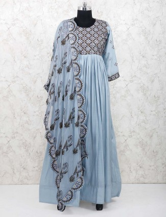 Grey hued cotton festive wear anarkali suit