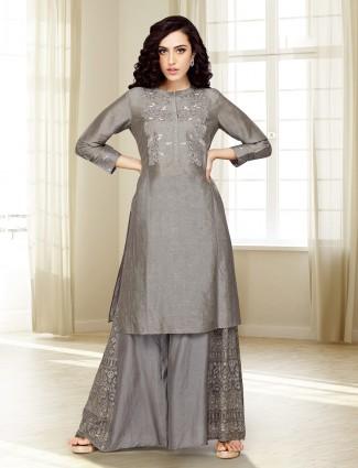 Grey hued cotton silk punjabi palazzo suit
