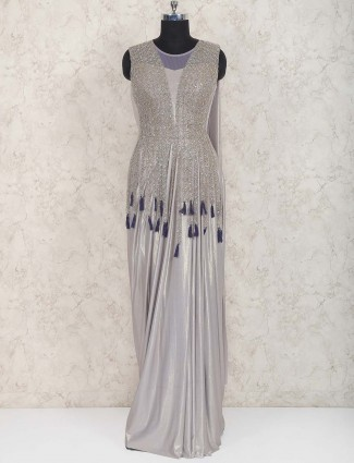 Grey hued lycra fabric gown for wedding