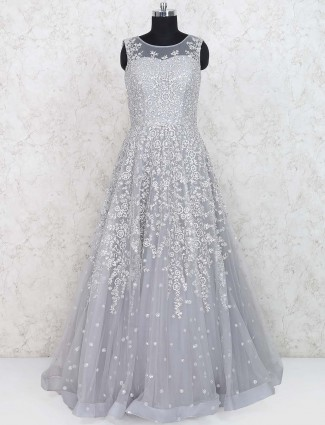 Grey hued net fabric floor length gown