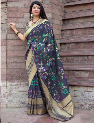 Grey hued semi silk festive occasion saree