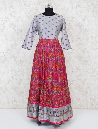 Grey magenta cotton silk festive anarkali suit