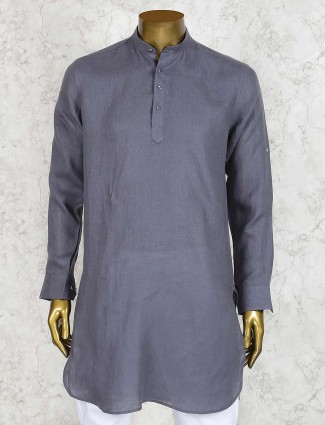 Grey mens linen cotton festive wear short pathani