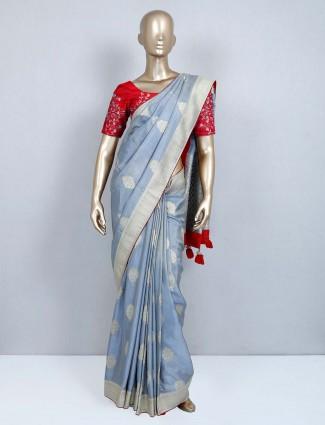Grey muga silk designer wedding wear saree