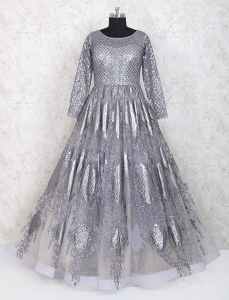 Grey net fabric party wear designer gown