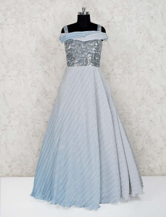 Grey net reception wear floor length gown