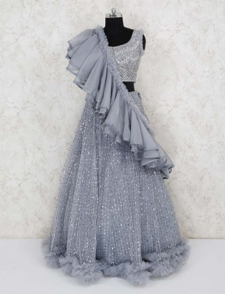 Grey net wedding designer lehenga choli