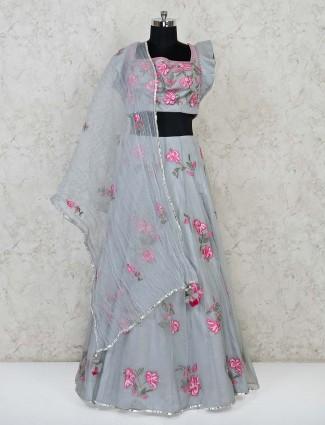 Grey net wedding function lehenga choli
