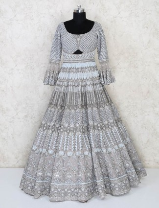 Grey net wedding wear designer gown