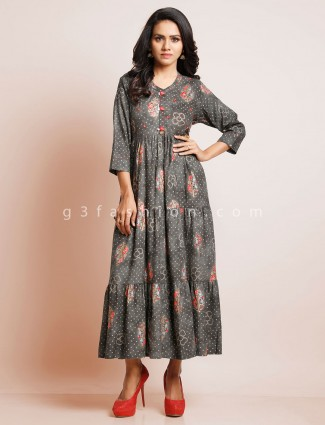 Grey printed casual kurti in cotton
