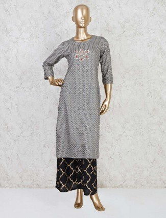 Grey printed cotton casual palazzo set