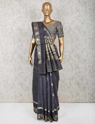 Grey pure silk sari for festive function