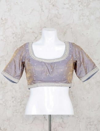 Grey raw silk ready made blouse