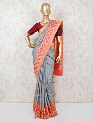 Grey semi silk saree with pink blouse piece