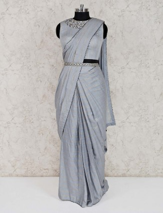 Grey silk party wear ready to wear saree