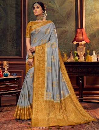 Grey silk saree for wedding session