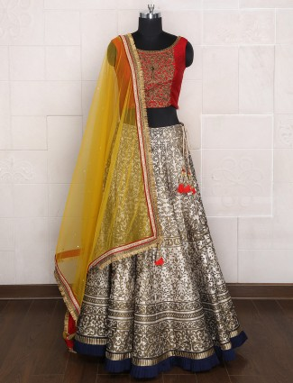 Grey silk wedding wear lehenga choli