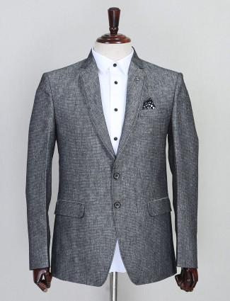 Grey solid party wear mens jute blazer