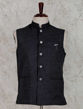 Grey solid stand collar waistcoat