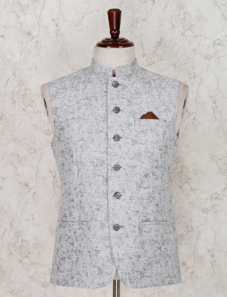 Grey solid terry rayon waistcoat for party