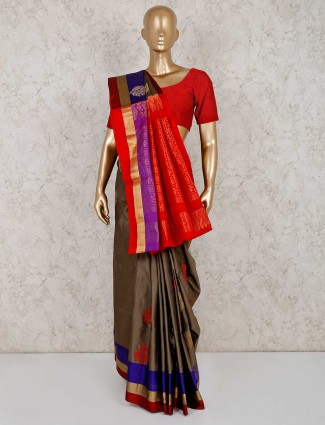 Grey south silk saree