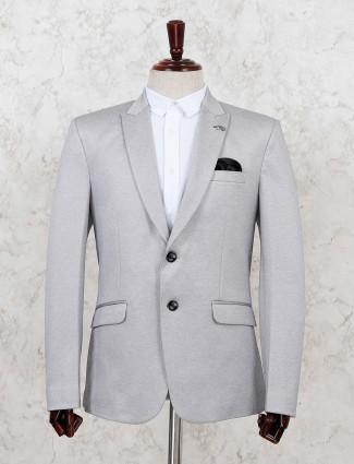 Grey terry rayon solid party blazer