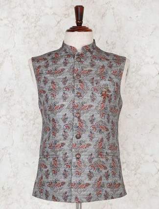 Grey terry rayon waistcoat for party