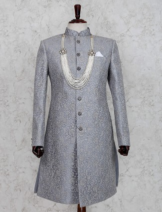 Grey terry rayon wedding occasion indo western