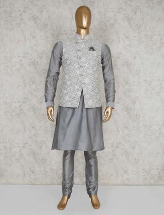 Grey thread work silk waistcoat set