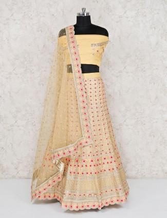 Grorgette yellow wedding semi stitched lehenga choli