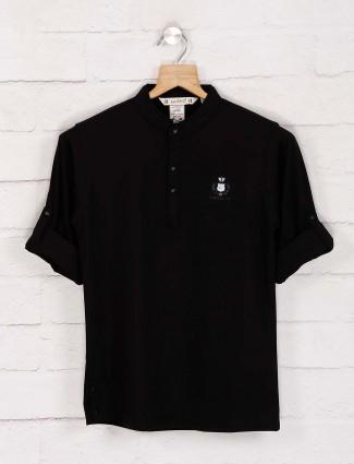 Gusto solid black full sleeves t-shirt