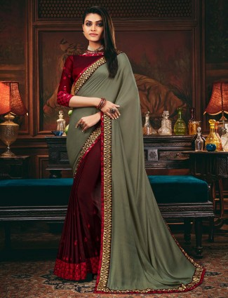 Half and half satin and georgette saree in wine and grey color