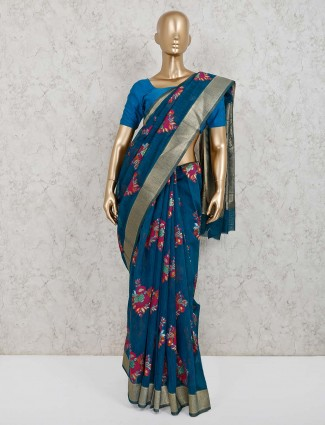 Handloom cotton silk blue festive saree