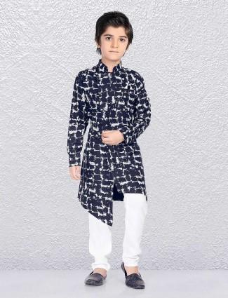 High low hem navy kurta suit